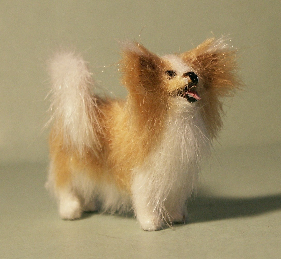 Papillion dog for the dolls house
