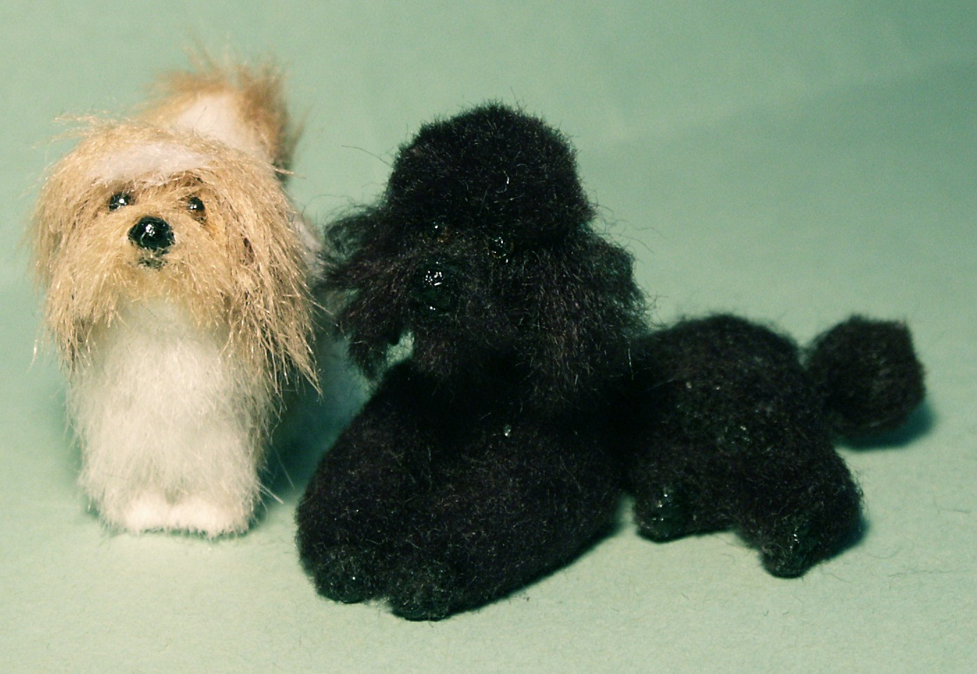 Lhasa Apso and poodle dog for the dolls house