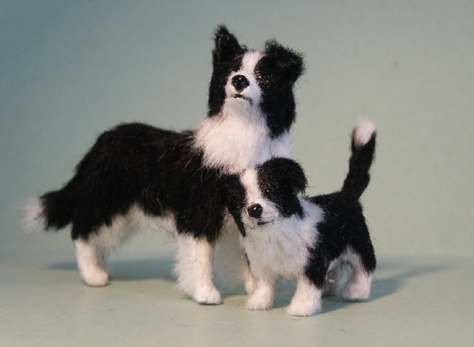Border collie mum and pup for the dolls house