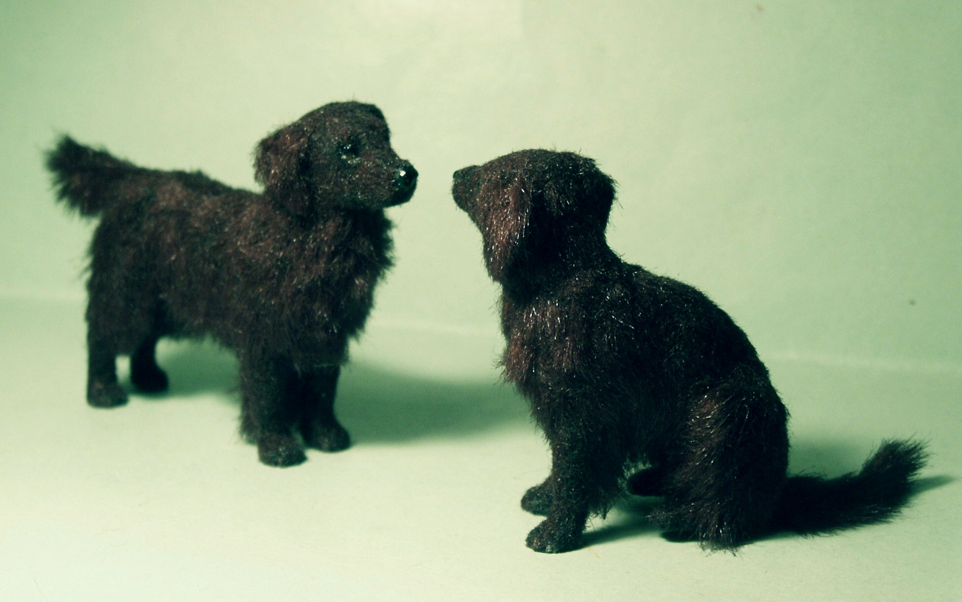 Flat coated retrievers for the dolls house