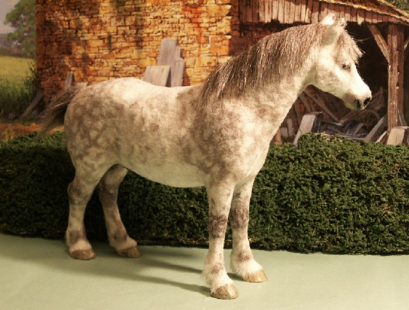 Furred horse for the dolls house