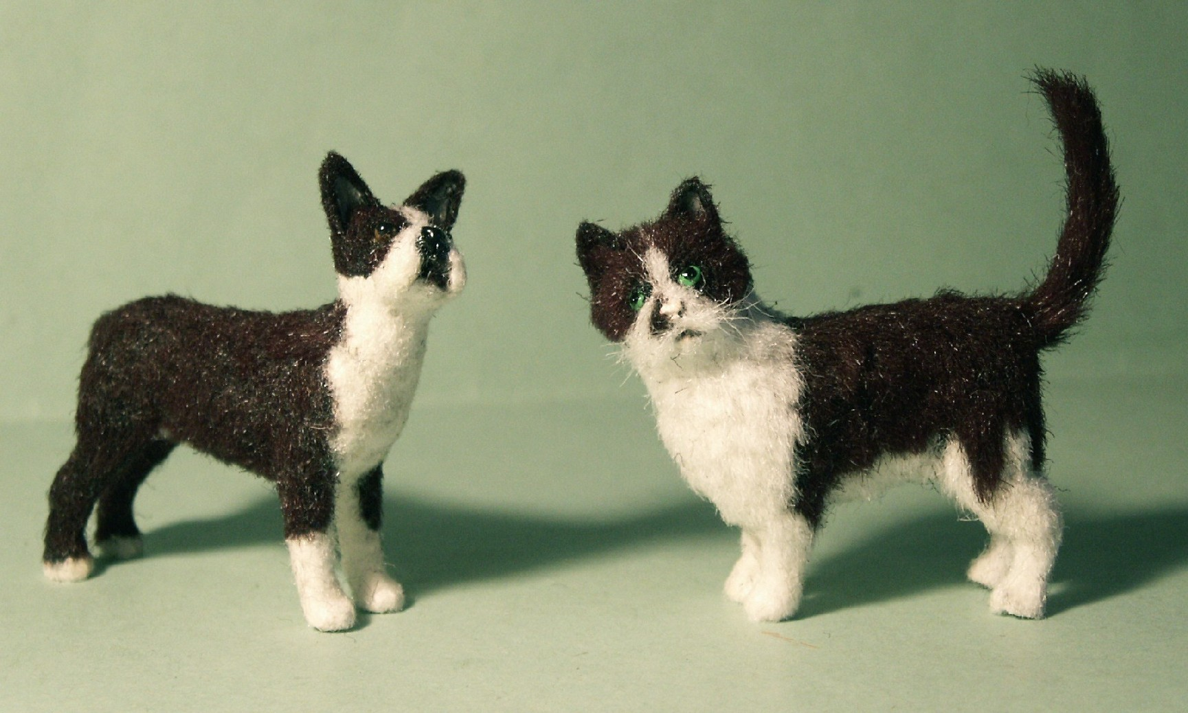 Dolls house fur cat and Boston Terrier