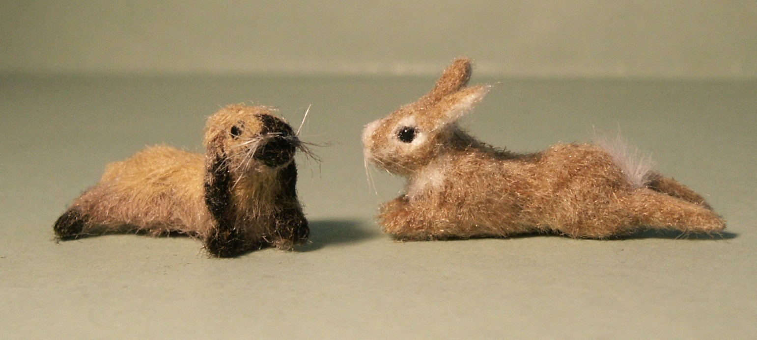 Two furred bunnies for the dolls house
