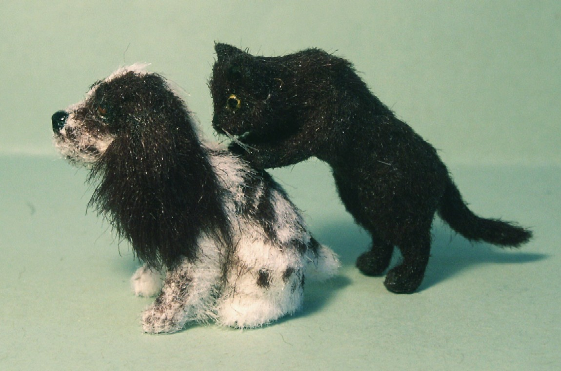 Dolls house fur cat and cocker spaniel